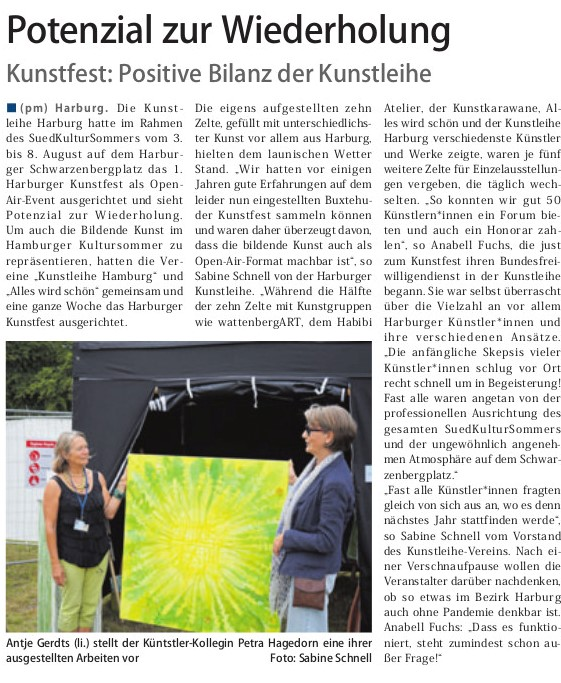 zum 1. Harburger Kunstfest (3.-8. Aug. 2021)